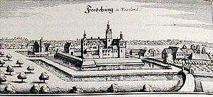 Festung Friedeburg. Seitenverkehrter Stich von Merian aus der zweiten Hälfte des 17. Jahrhunderts