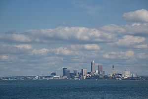 Greater Cleveland - Lake Erie and the Downtown Cleveland skyline as seen from Lakewood Park, Lakewood.