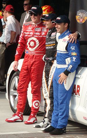2011 Indianapolis 500 - Front row qualifiers (L to R): Scott Dixon, Alex Tagliani, and Oriol Servià.