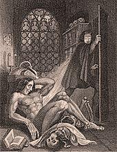 Gravure van een naakte man die wakker wordt op de vloer en een andere man die vluchtend van schrik.  Naast de naakte man staan een schedel en een boek en op de achtergrond staat een raam met de maan er doorheen