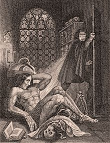 Engraving showing a naked man awaking on the floor and another man fleeing in horror. A skull and a book are next to the naked man and a window, with the moon shining through it, is in the background.