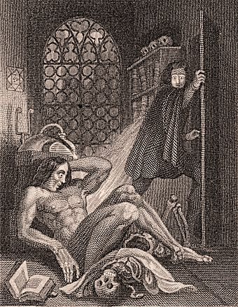 Illustration by Theodor von Holst for 1831 edition of Mary Shelley's Frankenstein. Frontispiece to Frankenstein 1831.jpg