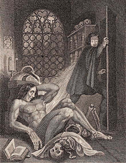 The frontispiece to the 1831 Frankenstein by Theodor von Holst, one of the first two illustrations for the novel Frontispiece to Frankenstein 1831.jpg