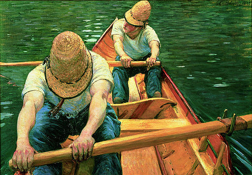 """Oarsmen Rowing on the Yerres"" by Gustave Caillebotte"