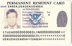 Permanent residence (United States) - United States Permanent Resident Card (2008)