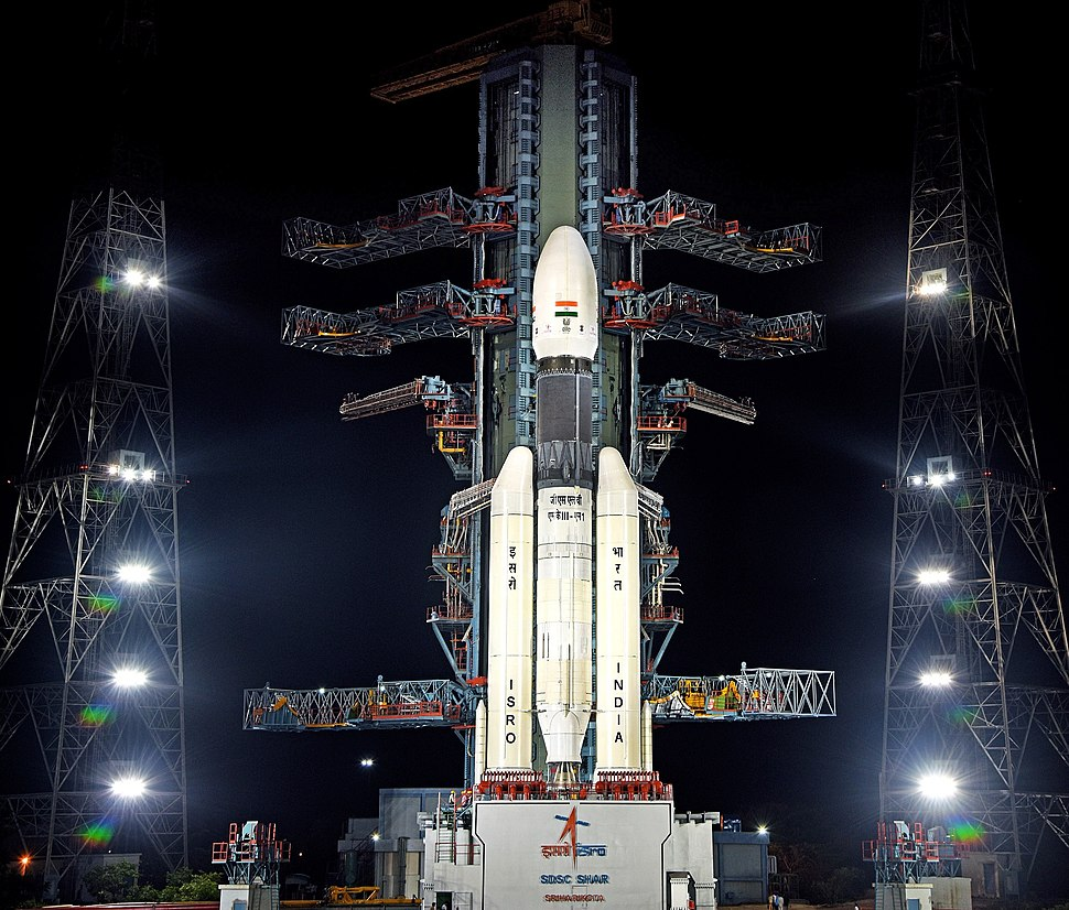 GSLV Mk III M1, Chandrayaan-2 - Front view of GSLV Mk III M1 vehicle at the Second Launch Pad 01
