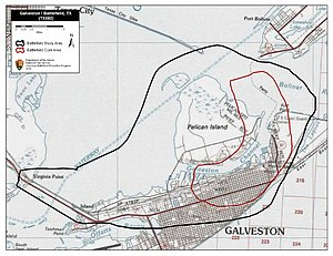 Battle of Galveston Harbor (1862) - Map of Galveston Harbor Battlefield core and study areas by the American Battlefield Protection Program.