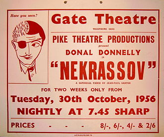 Donal Donnelly -  Poster for his double role in Nekrassov by Jean-Paul Sartre. Gate Theatre, Dublin. 1956.