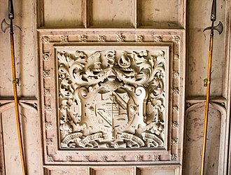 James Kay-Shuttleworth - 1851 plasterwork at Gawthorpe Hall, showing arms of Sir James Phillips Kay-Shuttleworth, 1st Baronet, with inescutcheon of pretence for his wife