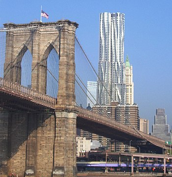 The Manhattan tower of the Brooklyn Bridge, wi...