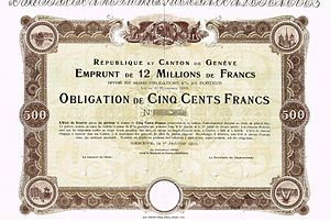 Canton of Geneva - Bond of the République et Canton de Genève, issued 1. January 1900