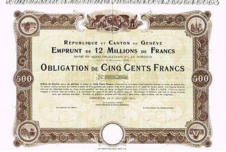Canton of Geneva - Bond of the République et Canton de Genève, issued 1. January 1900