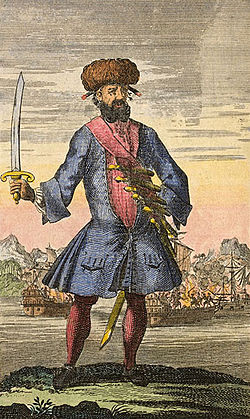 Blackbeard (c. 1736, gravura usada para ilustrar o livro A General History of the Robberies and Murders of the Most Notorious Pyrates de Charles Johnson)