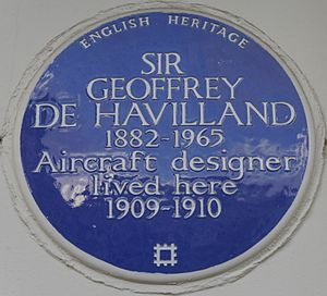 Geoffrey de Havilland - Blue plaque, 32 Baron's Court Road, Barons Court, London