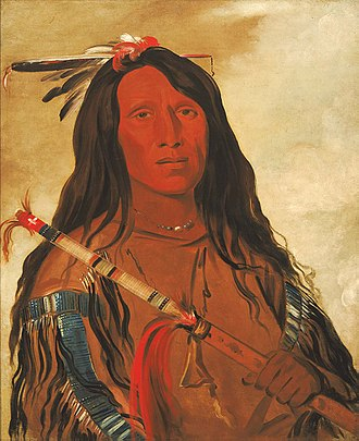Cheyenne - Portrait of Cheyenne chief Wolf-on-the-Hill by George Catlin, 1832. A band of Cheyenne visited Fort Pierre in 1832 where some were painted by Catlin during a westward expedition.