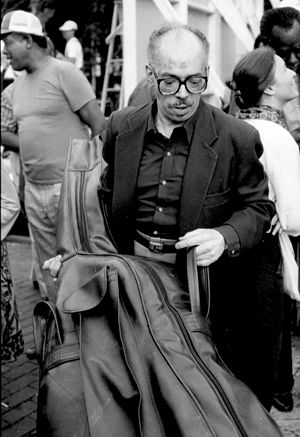 George Duvivier - George Duvivier, Greenwich Village Jazz Festival, Washington Square Park, New York, summer 1984.  Playing w/Dizzy Gillespie, Benny Carter, Cecil Payne and others.