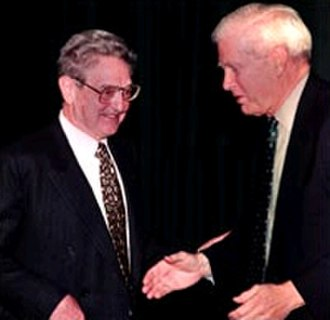 James H. Billington - George Soros (left) and James H. Billington at the Library of Congress in Washington D.C. on January 22, 2001 to discuss the views expressed in Soros' new book, Open Society: Reforming Global Capitalism.