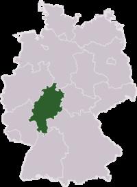 Mapa de Alemania resaltando el estado de Hesse