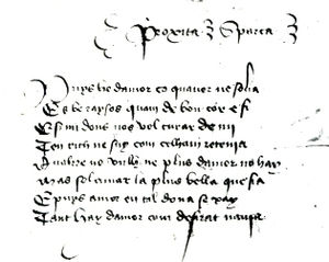 Gilabert de Próixita - Manuscript facsimile of Puys he d'amor ço qu'aver ne solia by Gilabert de Próixita (the Proxita of the MS), labelled a sparsa, stand-alone stanza