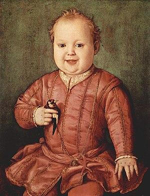 Giovanni de' Medici (cardinal) - Agnolo Bronzino, Portrait of Giovanni de' Medici (c. 1545), Uffizi, Florence.