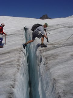 Crevasse A deep crack, or fracture, in an ice sheet or glacier