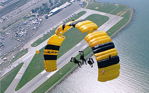 Cleveland National Air Show - The United States Army Parachute Team makes an appearance at the air show.