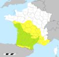 Grandes zones de la répartition géographique de la Genette (Genetta) en France.png