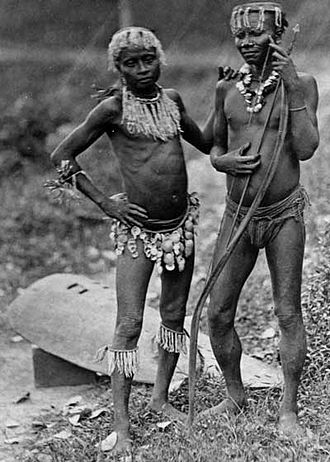 Tribe - Two men from the Andamanese tribe of the Andaman Islands, India