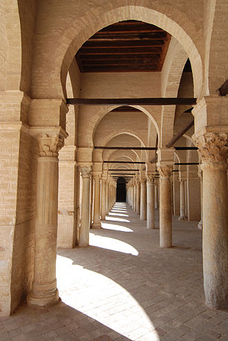 Arcade (architecture) - Arcades inside the Mosque of Uqba, also known as the Great Mosque of Kairouan, located in Kairouan, Tunisia.