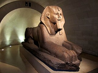 granite sphinx in the collections of the Louvre