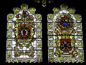 10th (Irish) Division - Guildhall Derry stained-glass window which commemorates  the Three Irish Divisions, left the 36th, right the 10th and 16th