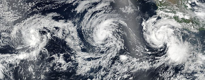 Tropical Storms Greg (left), Irwin (center), and Hurricane Hilary (right) spanning the East Pacific on July 24 Greg, Hilary and Irwin 2017-07-24 2212Z.jpg