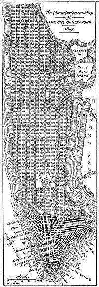 A modern redrawing of the 1807 version of the Commissioner's Grid plan for Manhattan, a few years before it was adopted in 1811. Note the absence of Central Park.