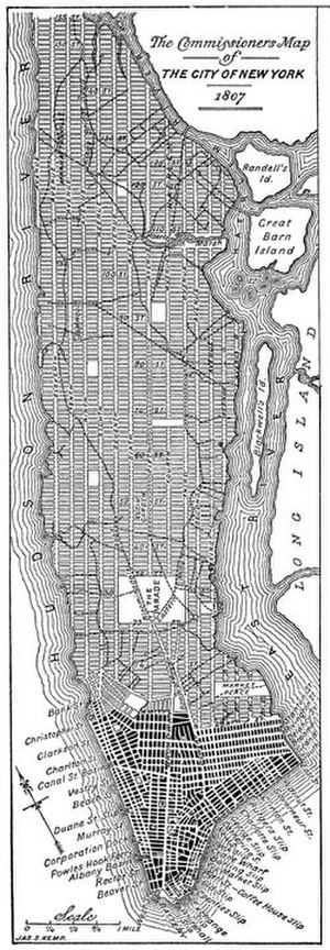 Transportation in New York City - An 1807 version of grid plan for Manhattan.