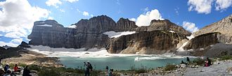 Grinnell Glacier - A view of the Grinnell Glacier after hiking the trail leading to it, in 2012.