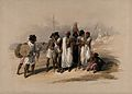 Group of Nubians with weapons, Egypt. Coloured lithograph by Wellcome V0049326.jpg