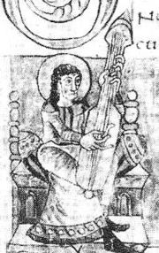 Illustration from a Carolingian Psalter from the 9th century, showing a Guitar-like plucked instrument.