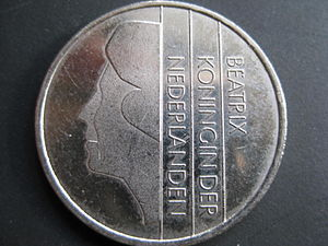 Bruno Ninaber van Eyben - The obverse side of the Dutch guilder, designed by Bruno Ninaber van Eyben, shows Queen Beatrix