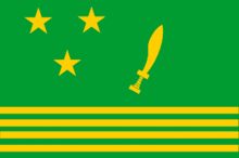 A rectangular flag with a green background, three horizontal yellow stripes across the bottom, three yellow stars forming a triangle on the top left, and a yellow sword on the top right.