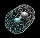 La molecola biatomica eteronucleare dell'acido fluoridrico