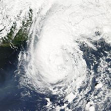 Satellite imagery of a hurricane approaching Newfoundland.