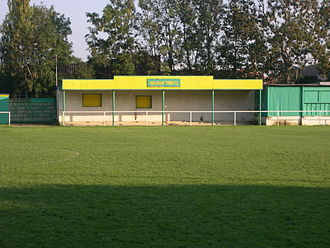 Hailsham Town F.C. - The main stand at The Beaconsfield