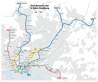 Hamburg U-Bahn network with tunnel sections