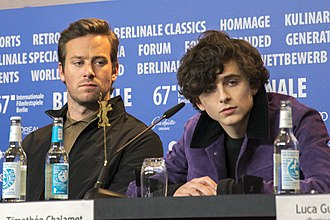 Call Me by Your Name (film) - Hammer and Chalamet during the press conference for Call Me by Your Name at the 2017 Berlin International Film Festival
