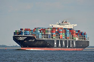 Hanjin - Hanjin Spain passing Hamburg