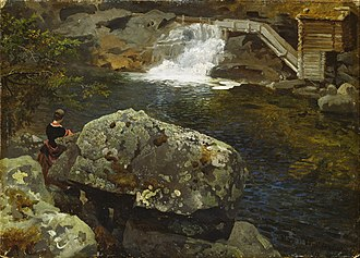 Hans Gude - Gude's By the Mill Pond, (1850)