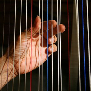 Hands of a harpist playing