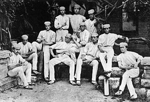Apcar Alexander Apcar - Harrow cricket XI during the match against Eton in 1869. A. A. Apcar is second from the right.