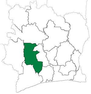 Haut-Sassandra - Haut-Sassandra Region upon its creation in 1997. Haut-Sassandra retained these boundaries until 2000, when it and Marahoué Region were divided to create Fromager Region.