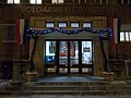 Hegyvidék Town Hall entrance by night, 2016 Budapest.jpg